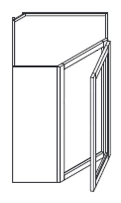 Glass Door Wall Cabinets - Diagonal - Finished Interior - DOES NOT INCLUDE GLASS