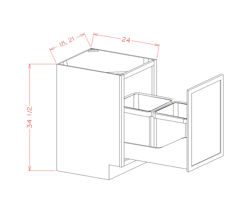 Single Full Height Door Base Kit with Double Trashcan Pullout