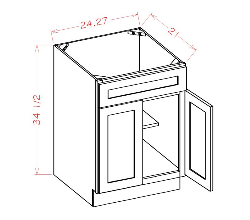Double Door Single Drawer Front Vanity Sink Bases