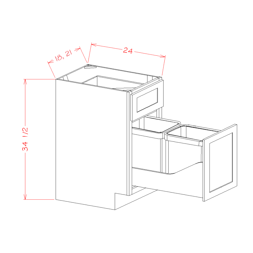 Single Door Single Drawer Base Kit with Double Trashcan Pullout