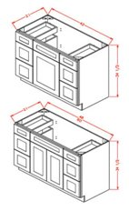 Vanity Double Drawer Bases
