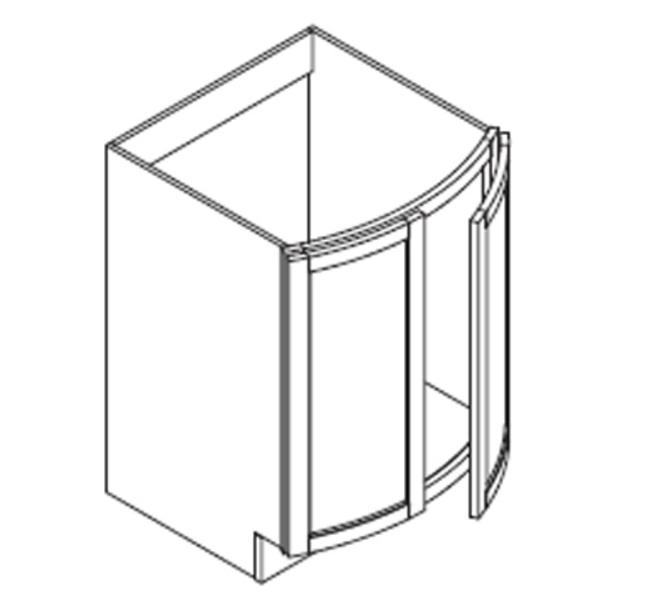 Vanity Sink Base - Curved Full Height Doors