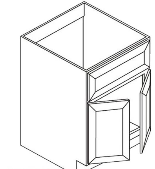 Vanity Sink Base - Double Door Single Drawer Front