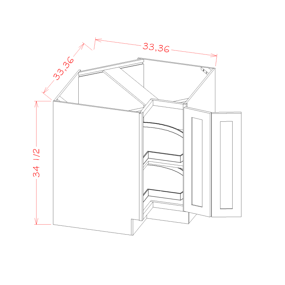 Base Easy Reach Cabinets with Lazy Susan Trays