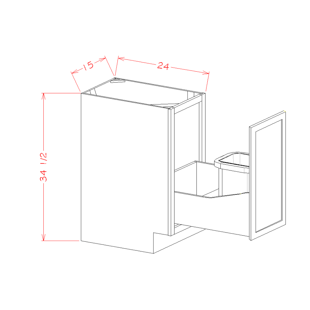 Single Full Height Door Base Kit with Single Trashcan Pullout