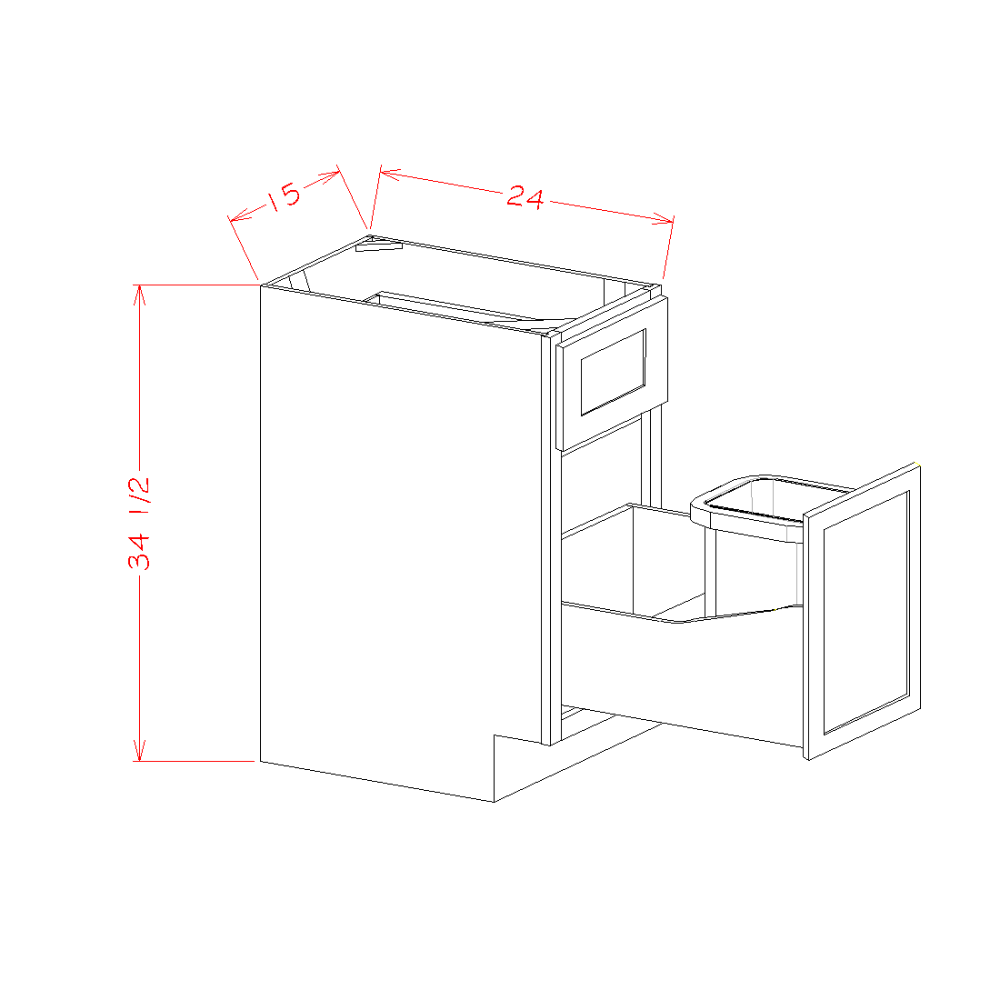 Single Door Single Drawer Base Kit with Single Trashcan Pullout
