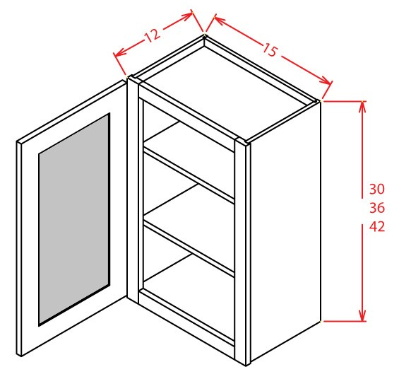 30'' Height Open Frame Wall Cabinets-1 Door 2 Shelves